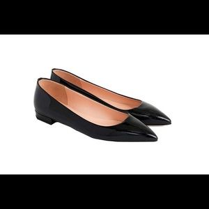 J. Crew Black Pointy Toe Patent Flats Size 8.5